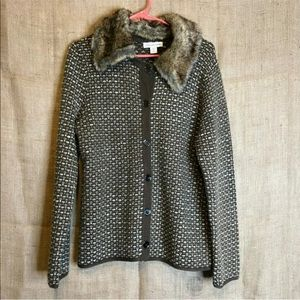 Coldwater Creek Jacket SZ M Knit Faux Fur Collar